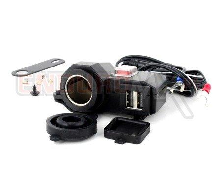 Gniazdo zapalniczki + 2 x USB z włącznikiem i okablowaniem