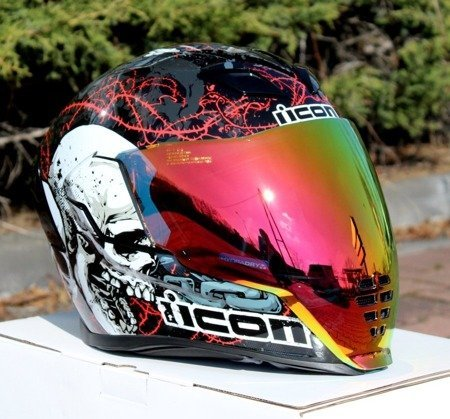 Kask ICON AIRFLITE Skull red mirror