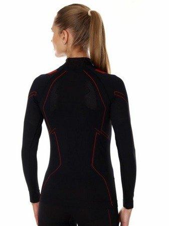 Koszulka termoaktywna BRUBECK Cooler damska czarny - czerwony