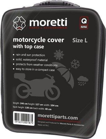 Pokrowiec na motocykl z kufrem MORETTI  - wodoodporny L