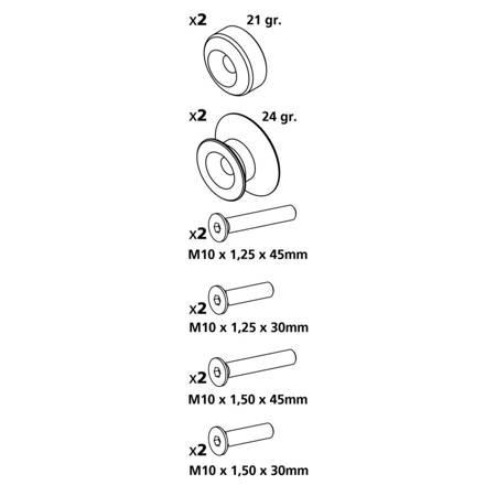 Rolki pod podnośnik LAMPA tył złote M10